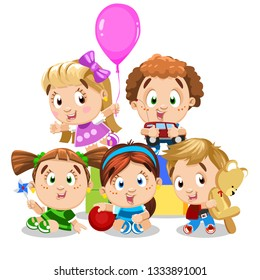 Cute kids hold toys (pink ballon, car, windmill, red ball, teddy bear) and play. Boys, girls spend time at the kindergarden, activity room, children`s zone, playground. Cartoon isolated on white.