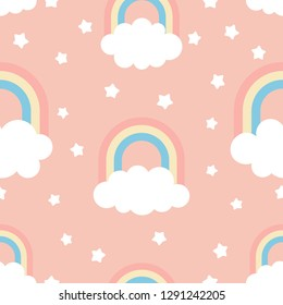 Cute kids illustration with clouds, rainbow and stars. Seamless Pattern, Cartoon Vector Illustration, Nursery Background for Kid.