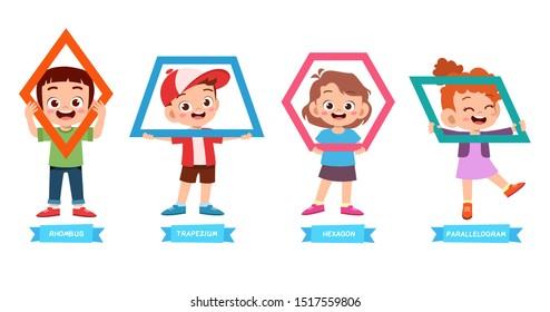 cute kids learn basic shape math lesson