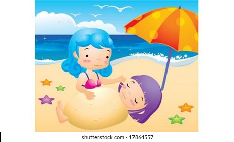 Cute Kids Life and Happy Vacation - playing at the sandy beach with lovely and pretty little girls on a hot day on a background of beautiful blue sky and open ocean : vector illustration