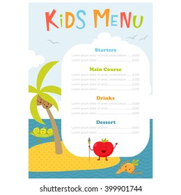 Cute kids meal menu vector template with cartoon vegetables. Healthy food for child. Flyer with sea island and aborigine tomato, carrot, peas, broccoli, coconut. Design
