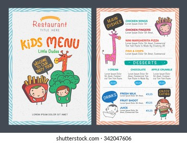 Cute  kids menu vector template