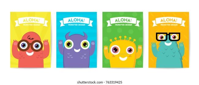 Cute kids Monster cover and packaging design set vector illustration
