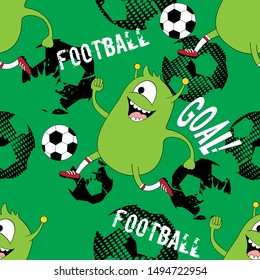 Cute kids monster pattern for girls and boys. Colorful football monster on the abstract bright background. The football monster pattern is made in bright colors. Urban pattern for textile and fabric