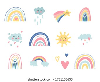 Cute kids nursery collection. Hand drawn rainbows, sun, funny clouds, stars, hearts. Sky background. Baby shower. Lovely cartoon rainbows for wallpaper, fabric, wrapping, apparel. Vector illustration.