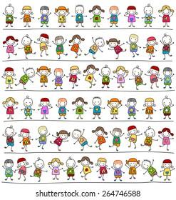 süßes Kindermuster, kinderartiges Zeichnen