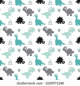 cute kids pattern for girls and boys, colorful dinosaurs on the white background create fun cartoon drawing, backdrop for textile and fabric