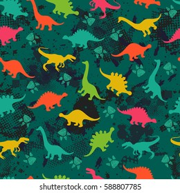 Cute kids pattern for girls and boys. Colorful dinosaurs on the abstract grunge background create a fun cartoon drawing. Urban backdrop for textile and fabric.