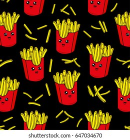 Cute kids pattern for girls and boys. Colorful french fries on the abstract grunge background create a fun cartoon drawing.The background is made in black colors.Urban backdrop for textile and fabric.