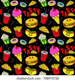 Cute kids pattern for girls and boys. Colorful fast food on the abstract grunge background create a fun cartoon drawing. The background is made in black colors. Urban backdrop for textile and fabric.