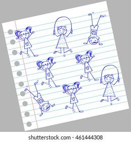 Cute kids playing. Cartoon style.
