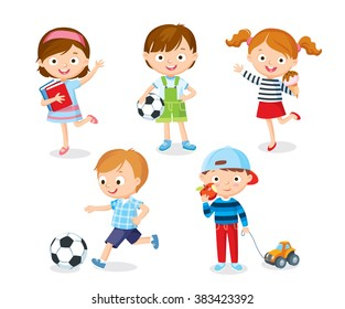 cute kids playing with toys, reading, playing football, eating ice cream