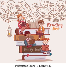 Cute kids reading books. Back to school vector concept