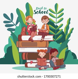 Cute kids reading books in the garden. Back to school vector concept.  Nature landscape background. Summer holidays illustration. Vacation time