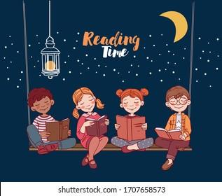 Cute kids reading books in the garden