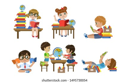 Cute Kids Reading Books Set, Children Learning Geography Vector Illustration