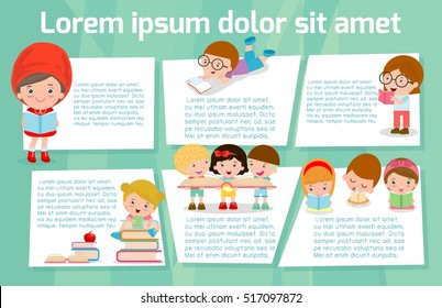 cute kids reading books, Template for advertising brochure,your text, ready for your message. Vector illustration