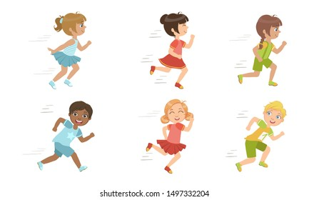 Cute Kids Running Set, Adorable Boys and Girls Doing Sport, Taking Part at Running Competition Vector Illustration