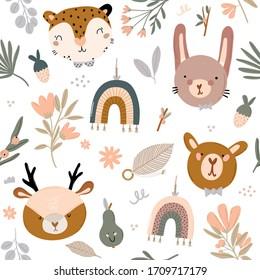 Cute kids scandinavian seamless pattern with funny animals, kids mobile toys, beanbag, leaves, flowers. Cartoon doodle  illustration for baby shower, nursery room decor, children design. Vector.