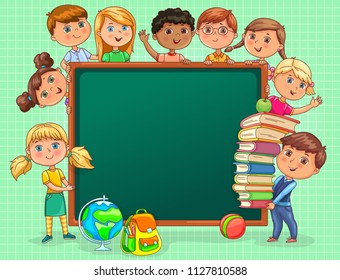 Cute kids with school board and books.