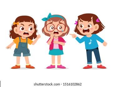 cute kids school friend argue fight bad behaviour