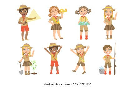 Cute Kids Scouts Camping Set, Cute Boys and Girls in Scout Costumes with Hiking Equipment Vector Illustration