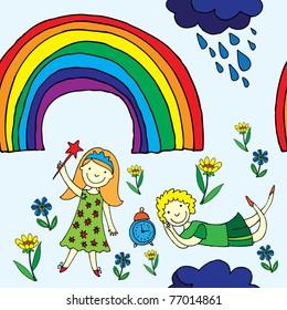 cute kids seamless patten with rainbow