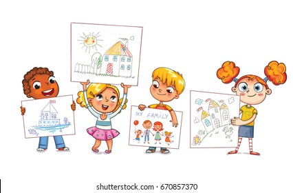 Cute kids show their drawings drawn. Children drawing. Funny cartoon character. Vector illustration. Isolated on white background
