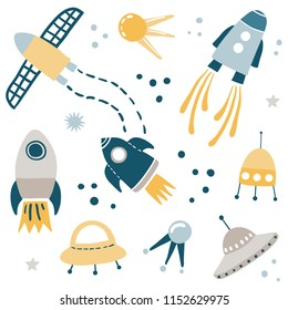 Cute Kids Space Vector Illustration Design Set. Cartoon rockets, spaceships, shuttles, ufo and stars. Hand drawn vector illustration for Children.