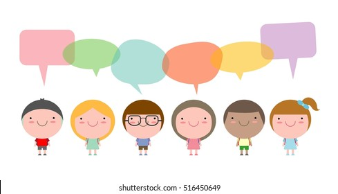 Cute kids with speech bubbles isolated on white background, children go to school with speech balloon, Vector Illustration