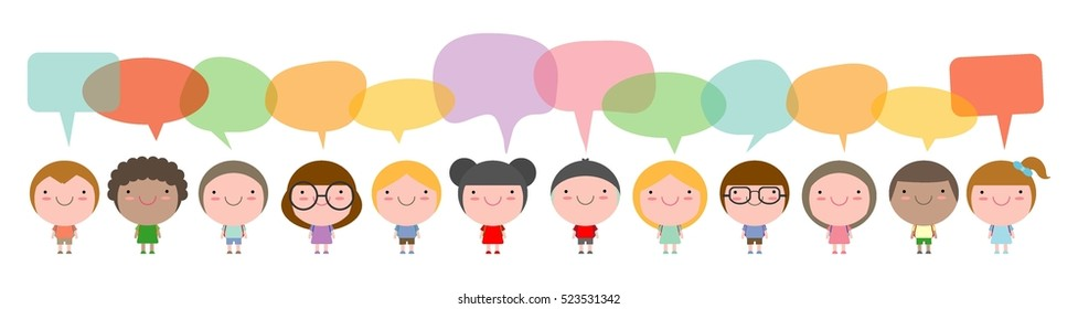 Cute kids with speech bubbles, Set of diverse Kids and Different nationalities with speech bubbles isolated on white background.