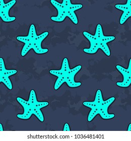 Cute kids starfish pattern for girls and boys. Colorful starfish on the abstract background create a fun cartoon drawing. The starfish pattern is made in pastel colors. Urban backdrop for textile.