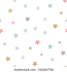 Cute kids stars vector seamless pattern in pink, grey, green, mint, yellow,