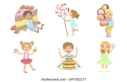 Cute Kids with Sweet Desserts Set, Smiling Boys and Girls Eating Cake, Candies, Ice Cream, Popsicle Vector Illustration