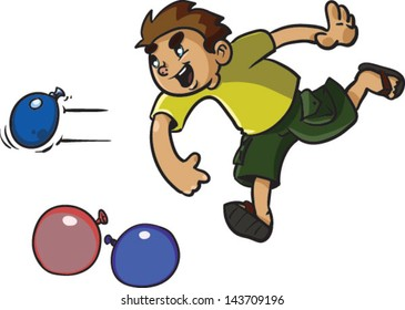 A cute kids throwing water balloons - Vector clip art illustration on white