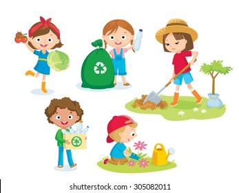cute kids volunteers