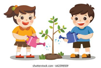 Cute kids volunteers planted and watering young trees. Save Earth.