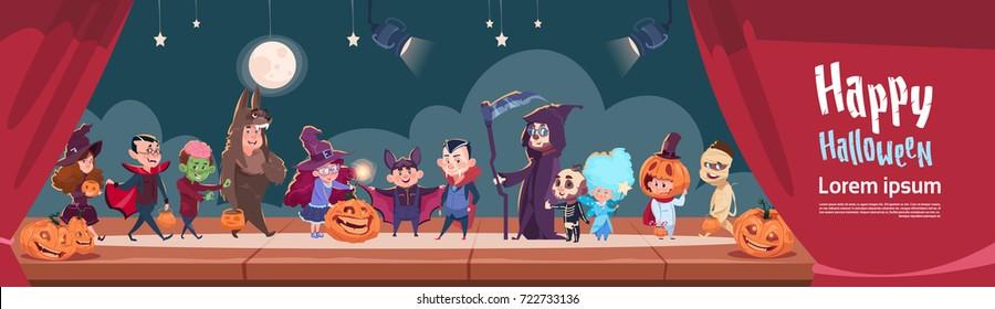 Cute Kids Wear Monsters Costume, Happy Halloween Banner Party Celebration Flat Vector Illustration