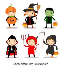 Cute kids wearing halloween costumes