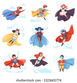 Cute Kids Wearing Superhero Costumes Set, Super Children Characters in Masks and Capes in Different Pose Vector Illustration
