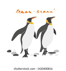 Сouple of cute king penguins vector hand drawn illustration. Sea birds with stones and inscription Kra isolated clipart. Postcard design element, kids game, book, t-shirt, textile