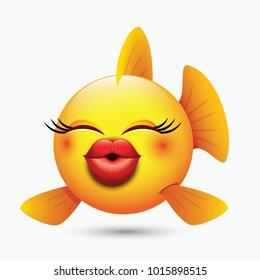Cute kissing fish emoticon, emoji, smiley - vector illustration