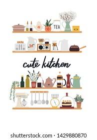Cute kitchen doodle. Wooden shelves with kitchenware, saucepans, kettle, mixer, tableware, ceramics.