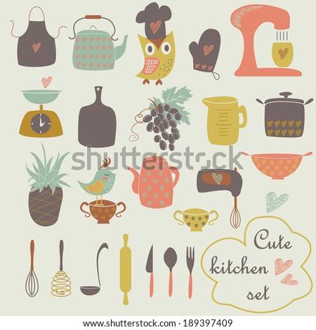 Cute Kitchen Set Cartoon Style Stock Vector Royalty Free 189397409