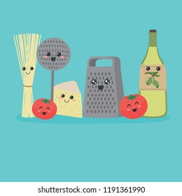 Cute Kitchen utensils: spaghetti, tomatoes, cheese, olive oil, grater, skimmer on a blue background. The ingredients for a recipe of pasta in cartoon style. Vector illustration in flat design.