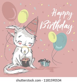 Cute kitten with balloons and happy birthday sign. Cartoon style in vector.
