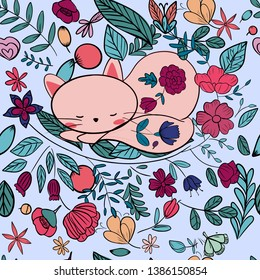 Cute kitten cat in flower seamless pattern,illustration vector by freehand doodle comic art,colorful tropical botanical forest jungle garden concept,for textile printed or celebrated card background