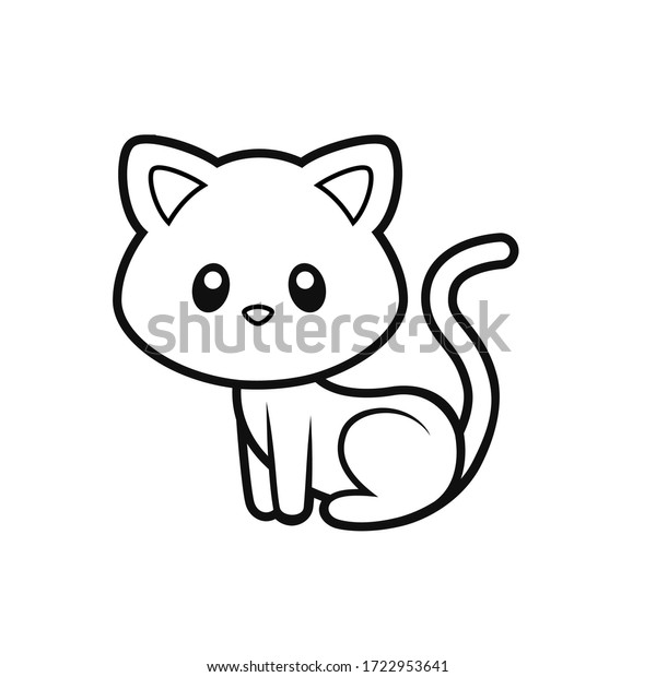 - Cute Kitten Coloring Page Vector Illustration Stock Vector (Royalty Free)  1722953641