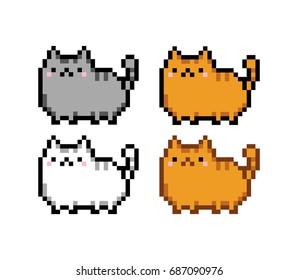 Cute kitten domestic pet pixel art set - isolated vector illustration