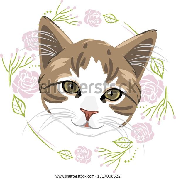 cute-kitten-floral-frame-tshirt-600w-131